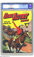 Golden Age (1938-1955):Western, Gene Autry Comics #6 Fawcett File Copy (Fawcett, 1943) CGC VF 8.0Cream to off-white pages. Cowboy Gene shore looks happy on...