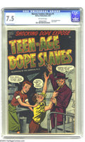 "Golden Age (1938-1955):Crime, Harvey Comics Library #1 Teen-Age Dope Slaves (Harvey, 1952) CGC VF- 7.5 Off-white pages. This issue's full title is ""Teen-A..."