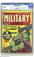 Golden Age (1938-1955):War, Military Comics #1 (Quality, 1941) CGC GD/VG 3.0 Light tan tooff-white pages. This issue features the origin and first appe...