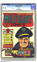 Golden Age (1938-1955):War, Military Comics #7 San Francisco pedigree (Quality, 1942) CGC NM+ 9.6 White pages. Blackhawk has plenty to smile about on th...