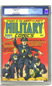 Military Comics #13 Rockford pedigree (Quality, 1942) CGC NM- 9.2 Cream to off-white pages. Blackhawk outlasted the vast...