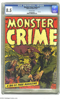 """Golden Age (1938-1955):Horror, Monster Crime #1 (Hillman Publications, 1952) CGC VF+ 8.5 Off-whitepages. Overstreet and Gerber both call this book """"scarce..."""