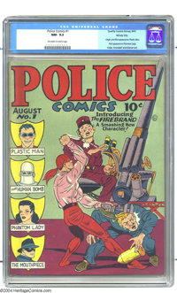 Police Comics #1 Windy City pedigree (Quality, 1941) CGC NM- 9.2 Off-white to white pages. One of the more significant i...