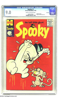 Spooky #1 File Copy (Harvey, 1955) CGC VF/NM 9.0 Cream to off-white pages. The tough, or rather tuff, little ghost gets...