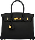 Luxury Accessories:Bags, Hermès 30cm Black Togo Leather Birkin Bag with Gold Hardware. D, 2019. Condition: 1. 1...