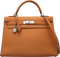 Luxury Accessories:Bags, Hermès 32cm Natural Tadelakt Leather Sellier Kelly Bag with Palladium Hardware. G Square, 2003. Condition: 3. 12.5...