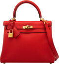 """Luxury Accessories:Bags, Hermès 25cm Rouge Tomate Swift Leather Retourne Kelly Bag with Gold Hardware. X, 2019. Condition: 2. 9"""" Width x 7...."""