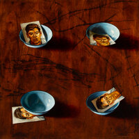 Henk Serfontein (b. 1971) Blue Enamel Bowl with Found Photo, 2002 Oil on wood 32 x 32 inches (81