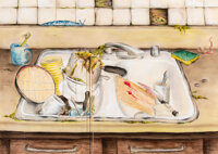 Mark Licari (b. 1975) Kitchen Sink, 2005 Ink, color pencil, watercolor and pencil on paper 29-7/8