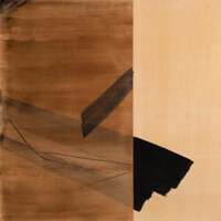 Toko Shinoda (1913-2021) Change Semi-ink and gold leaf on paper laid on board 35-3/4 x 35-3/4 inc