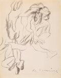 Works on Paper, Willem de Kooning (1904-1997). Untitled (Two Figures), circa 1975. Charcoal on paper. 14-1/8 x 11-1/4 inches (35.9 x 28....