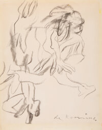 Willem de Kooning (1904-1997) Untitled (Two Figures), circa 1975 Charcoal on paper 14-1/8 x 11-1/4 inches (35.9 x 28