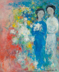 Paintings, Vu Cao Dam (1908-2000). Deux jeunes filles, 1966. Oil on canvas. 26 x 21-1/2 inches (66 x 54.6 cm). Signed and dated low...