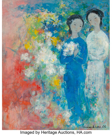 Vu Cao Dam (1908-2000) Deux jeunes filles, 1966 Oil on canvas 26 x 21-1/2 inches (66 x 54.6 cm) Signed and dated low...