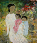 Paintings, Vu Cao Dam (1908-2000). Les deux enfants, 1964. Oil on canvas. 18-1/4 x 15-1/4 inches (46.4 x 38.7 cm). Signed and dated...