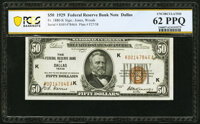 Fr. 1880-K $50 1929 Federal Reserve Bank Note. PCGS Banknote Unc 62 PPQ