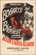 """Movie Posters:War, Action in the North Atlantic (Warner Bros., 1943). Fine on Linen. One Sheet (27"""" X 41""""). War.. ..."""