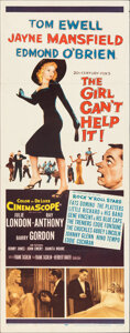"Movie Posters:Comedy, The Girl Can't Help It (20th Century Fox, 1956). Folded, Very Fine-. Insert (14"" X 36""). Comedy.. ..."