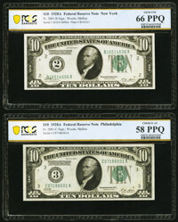 Fr. 2101-B; C $10 1928A Federal Reserve Notes. PCGS Banknote Gem Unc 66 PPQ; Choice AU 58 PPQ. ... (Total: 2 notes)