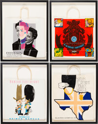"""Neiman Marcus Fortnight Set of Four Vintage Framed Shopping Bags Condition: 2 18.5"""" Width x 23.5"""