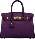 """Luxury Accessories:Bags, Hermès 30cm Violine Ostrich Birkin Bag with Gold Hardware. N Square, 2010. Condition: 3. 12"""" Width x 9"""" Height x 6..."""