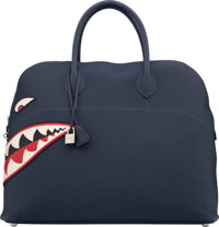 Hermès Limited Edition 45cm Blue Nuit Togo Leather Shark Mou Bolide Bag with Palladium Hardware X, 2016 Condition...