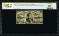 Fr. 1291SP 25¢ Third Issue Narrow Margin Specimen Face Error Note PCGS Banknote Choice About Uncirculated 58