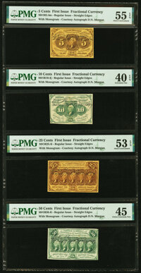 Fr. 1230, 1242, 1281, and 1312 First Issue PMG Graded Courtesy Autograph Denomination Set