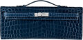 Luxury Accessories:Bags, Hermès Shiny Blue Abysse Niloticus Crocodile Kelly Cut Clutch with Palladium Hardware. O Square, 2011. Condition: 3...