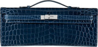 Hermès Shiny Blue Abysse Niloticus Crocodile Kelly Cut Clutch with Palladium Hardware O Square, 2011 Condition: 3...