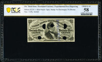 Milton 3E25F.3 25¢ Third Issue PCGS Banknote Choice About Uncirculated 58