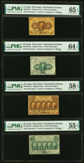 Fr. 1228, 1240, 1279 and 1310 First Issue Courtesy Autographed Perforated Denomination Set. ... (Total: 4 notes)