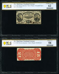 Fr. 1273SP 15¢ Third Issue Narrow Margin Specimens PCGS Banknote Uncirculated 62 and Choice AU 58
