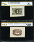Fractional Currency:Second Issue, Fr. 1283SP 25¢ Second Issue Wide Margin Pair PCGS Banknote Choice Unc 64; Gem Unc 65 PPQ.. ... (Total: 2 notes)
