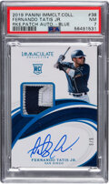 Baseball Cards:Singles (1970-Now), 2019 Panini Immaculate Collection Fernando Tatis Jr. (Rookie Patch Auto-Blue) #38 PSA NM 7 - #'d 5/5....