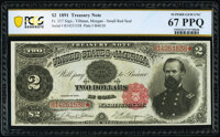 Fr. 357 $2 1891 Treasury Note PCGS Banknote Superb Gem Unc 67 PPQ