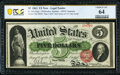 Large Size:Legal Tender Notes, Fr. 63a $5 1863 Legal Tender PCGS Banknote Choice Unc 64.. ...