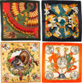 """Luxury Accessories:Accessories, Hermès Set of Four: 90cm Silk Scarves. Condition: 2. 35"""" Width x 35"""" Height . ... (Total: 4 Items)"""