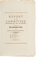 Political:Small Paper (pre-1896), Thomas Jefferson: Report of the Notification Committee for Jefferson's Election. ...
