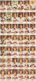 Baseball Cards:Other, 1954 Johnston Cookies Milwaukee Braves Uncut Sheet With Hank Aaron!...