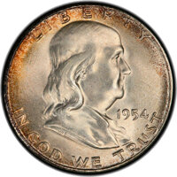 1954-S 50C MS67 PCGS. PCGS Population: (11/0 and 2/0+). NGC Census: (8/0 and 1/0+). CDN: $1,000 Whsle. Bid for NGC/PCGS...