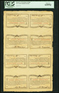 New York March 5, 1776 (Water Works) 8s Uncut Sheet of Eight PCGS Choice New 63PPQ