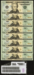 Small Size:Federal Reserve Notes, Low Two-Digit Serial Numbers 00000013; 14; 15; 16; 17; 18; 19 Fr. 2093-K $20 2006 Federal Reserve Notes Gem Crisp Uncirculated... (Total: 8 notes)