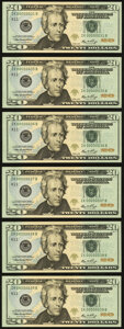 Small Size:Federal Reserve Notes, Low Two Digit Serial Numbers 00000031; 35; 36; 37; 38; 39 Fr. 2093-K $20 2006 Federal Reserve Notes. Gem Crisp Uncirculated.... (Total: 6 notes)