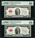 Small Size:Legal Tender Notes, Reverse Changeover Pair Fr. 1503/1502 $2 1928B/1928A Legal Tender Notes PMG Gem Uncirculated 65 EPQ; Choice Uncirculated 64 E...