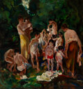 Paintings, John E. Costigan (American, 1888-1972). Bathers. Oil on canvas. 44 x 41 inches (111.8 x 104.1 cm). Signed lower left: ...