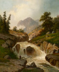 Paintings, Hermann Ottomar Herzog (American, 1832-1932). The Rippling River. Oil on canvas. 37 x 30 inches (94.0 x 76.2 cm). Signed...