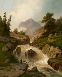Hermann Ottomar Herzog (American, 1832-1932) The Rippling River Oil on canvas 37 x 30 inches (94