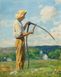 Paintings, Wilson Henry Irvine (American, 1869-1936). Man with a Scythe. Oil on canvas. 29-1/4 x 23-1/4 inches (74.3 x 59.1 cm). Si...