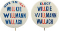 Political:Pinback Buttons (1896-present), Wendell Willkie: Pair of Coattail buttons.... (Total: 2 Items)